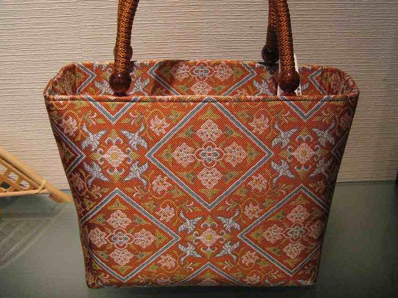 帯地で制作したバッグ